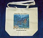Photo of Chloe Ellefson Historic Sites mystery series canvas tote bag.