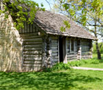 Photo by Kay Klubertanz of the reproduction the Ingalls family cabin near Pepin, WI.