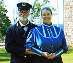 Kathleen Ernst and husband Scott as docents at the Pottawatmie Lighthouse on Rock Island in Door County Wisconsin on Lake Michigan in 2012.