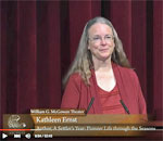 Screen capture of author Kathleen Ernst speaking about her nonfiction history book, A Settler's Year: Pioneer Life Through The Seasons, at the US National Archives in Washington, DC, on October 19, 2015.