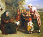 Partial image of Temptation: Fruit Stall oil painting (1850) by George Smith, Victoria and Albert Museum collection.