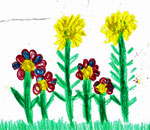 Crayon drawing of colorful flowers by Evelyn