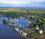 Color aerial photo of modern-day Sackets Harbor, NY.