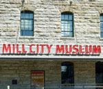 Photo by Kathleen Ernst of the Milll City Museum sign, Minneapolis, Minnesota.