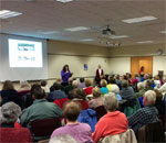 Overflow crowd at author Kathleen Ernst program on Monday afternoon January 4, 2016, at the Neenah Wisconsin Public Library.