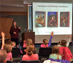 Photo by Scott Meeker of bestselling author Kathleen Ernst presnting her American Girl Fans program March 5, 2016 at the Reedsburg Wisconsin Public Library.