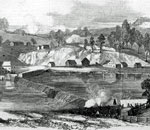 Black and white image of Williamsport, Maryland from Frank Leslie's Illustrated Newspaper, January, 1862/Library of Congress.