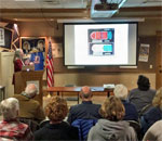 Bestselling author Kathleen Ernst giving her A Memory of Muskets program to the Rock County Civil War Roundtable on March 14, 2017. Photo by Scott Meeker.