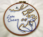 Reproduction of the embroidered map that Carolne Abbott made to show her father how to escape from Canada back to Sckets Harbor, New York during the War of 1812.