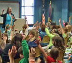 Photo of bestselling author Kathleen Ernst leading her American Girl Fans program at Brookfield, WI, Public Library on April 25, 2013.