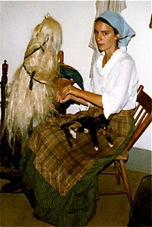 kathleen ernst, spinning flax, old world wisconsin