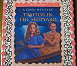 "Cake decorated with the cover of ""Traitor In The Shipyard: A Caroline Abbott Mystery"" written by Kathleen Ernst and published by American Girl."