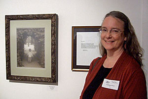 Photo of writer Kathleen Ernst at the 2013 Mark My Words Again exhibition..