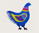 Image of a chicken created by bestselling author Kathleen Ernst using Polish papercutting known as Wycinanki (Vee-Chee-Non-Kee). This chicken image serves as a clue in Tradition of Deceit, the fifth Chloe Ellefson Historic Sites mystery written by Kathleen, published by Midnight Ink Books.