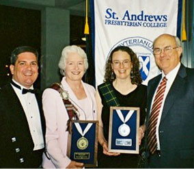 Bestselling author Kathleen Ernst receiving the Flora McDonald Award for Outstanding Contribution to Scottish Affairs from St. Andrews Presbyterian College for her American Girl History Mystery children's historical fiction book Betrayal at Cross Creek