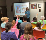 Photo by Scott Meeker of bestselling author Kathleen Ernst doing her American Girl Fans program on April 12, 2016 at the Beaver Dam Wisconsin Community Library.