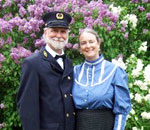 Author Kathleen Ernst and her husband serving as live-in docents at the Pottawatomie Lighthouse on Rock Island, WI.