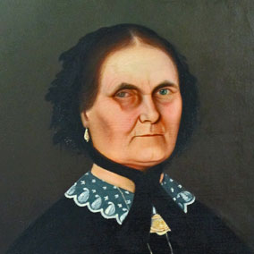 Oil-painted portrait of an unknown woman that hangs in Pendarvis House in Mineral Point, Wisconsin. Source: Pendarvis Historic Site Collection.