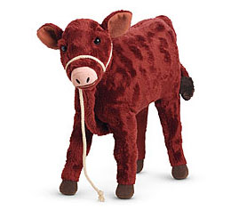 Plush toy model for Garnet the calf in the Americn Girl Changes for Caroline book by author Kathleen Ernst.