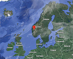Custom Google Map with pin indicating location of Utne, Norway.