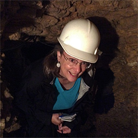 Bestselling author Kathleen Ernst, 65 feet below the surface, exploring the historic Badger Mine at Shullsburg, Wisconsin.