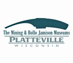 Logo of the Platteville Wisconsin Mining & Rollo Jamison Museums.