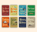 Front covers of first 8 Chloe Ellefson mystery books by bestselling author Kathleen Erns, published by Midnight Ink Books.