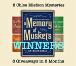 Chloe Ellefson mysteries giveaway of A Memory of Muskets graphic.