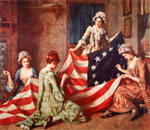 Betsy Ross and female friends sewing the first American flag. Painting by Henry Mosler (1841-1920).