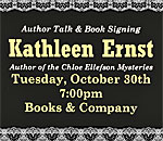 Graphic about bestselling author Kathleen Ernst speaking and signing The Lacemakers Secret at 7 PM on 30 October 2018 at Books & Company bookstore in Oconomowoc WI.