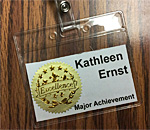 Photo of Council for Wisconsin Writers name tag for 2019 Major Achievement Award winner Kathleen Ernst.