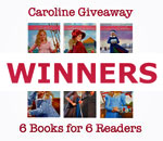 Caroline 6 Books for 6 Readers Giveaway Winners graphic by Scott Meeker.