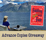 Fiddling With Fate Chloe Ellefson mystery ARC giveaway graphic by Deep Vee Productions.