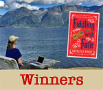 Giveaway winners graphic for Chloe Ellefson mystery Fiddling With Fate by bestselling author Kathleen Ernst.