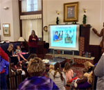 Author Kathleen Ernst doing her American Girl Fans program at the Johnson Public Library in Darlington, Wisconsin on March 13, 2018.