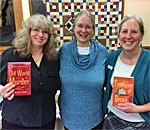 Bestselling author Kathleen Ernst with two Chloe Ellefson fans at the Edgerton WI Public Library Feb. 28, 2018.