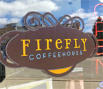 Firefly Coffeehouse sign in Oregon Wisconsin.