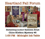 Bestselling author Kathleen Ernst signing her newest Chloe Ellefson mystery at the Heartland Fall Forum for Midwest independent booksellers.