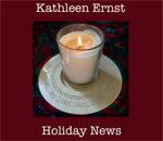 Bestselling author Kathleen Ernst Holiday News candle lit graphic