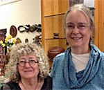 Lacemaker Kendra Goodnow (L) and bestselling author Kathleen Ernst 20 October 2018 at The Cornish Corner in Mineral Point Wisconsin.