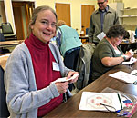 Bestselling author Kathleen Ernst at Vesterheim Beginning Norwegian Hardanger Embroidery class April 2019.