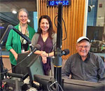 Photo of bestselling author Kathleen Ernst, WI Public Radio host Larry Meiller, and producer Jill Nadeau in the WPR studio 09 October 2018.