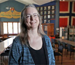 Photo of bestselling author Kathleen Ernst taken by Amber Arnold published in the Wisconsin State Journal 26 May 2019.