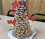 Photo of 18-layer Kransekake Norwegian wedding cake made by the Stoughton Wisconsin Sons of Norway-Mandt Lodge.