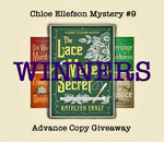 The Lacemaker's Secret Chloe Ellefson mystery Advance Review Copies Giveaway Winners graphic by Deep Vee Productions.