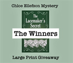 Chloe Ellefson Mystery Large Print Giveaway Winners graphic.