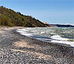 Photo of Lake Superior shoreline in the Upper Peninsula of Michigan taken by bestselling author Kathleen Ernst 2019.