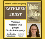 Poster created by Books & Company Bookstore for October 17, 2017 talk and signing by bestselling author Kathleen Ernst.