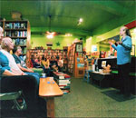 Bestselling author Kathleen Ernst talking to the Mining For Justice launch party audience at Mystery To Me bookstore in Madison, WI, September 28, 2017.