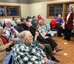 Photo of audience at the February 21, 2018 Chloe Ellefson Mysteries program by author Kathleen Ernst at the public library in Muscoda, WI.